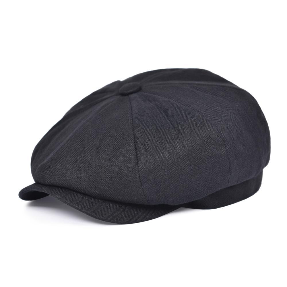 BOTVELA Newsboy Cap Summer Men Women Linen Herringbone Bakerboy Caps Lightweight Breathable Flat Hat Apple Beret Hats 007