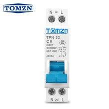 Автоматический выключатель TPN 1P + N MCB 6A 10A 16A 20A 25A 32A, Din-рейка для монтажа, миниатюрный Бытовой Воздушный выключатель