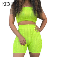 KEXU Sexy Off Shoulder Knitted Short Jumpsuits Women 2 Pieces Sets Summer Rompers Femme Bodycon Elegant Overalls