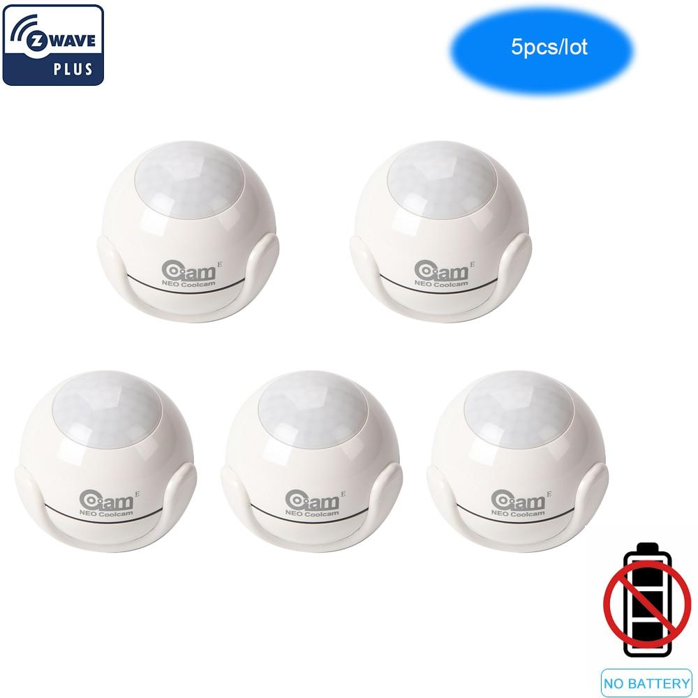 NEO COOLCAM 5pcs/Lot Zwave Pus PIR Motion Sensor +LUX+Temperature Detector Home Automation Alarm System Motion Alarm