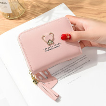 Wallet Women Lady Short Women Wallets Bear Decorated Mini Money Purses Small Fold PU Leather Female Coin Purse Card Holder leftside designer pu leather women cute short money wallets with zipper female small wallet lady coin purse card wallet purses