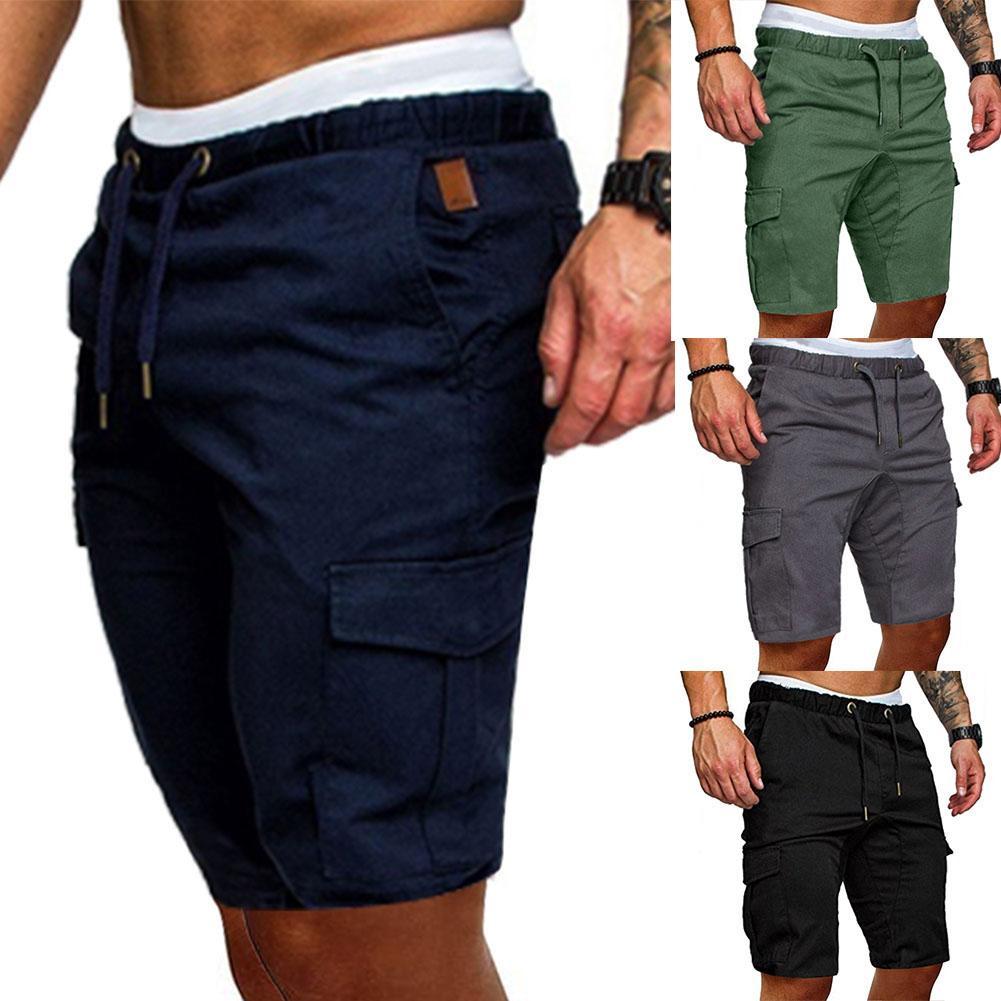 Men Fashion Shorts Drawstring Cargo Pants Outdoor Sports Beach Knee Length Shorts Jogger Sweatpants