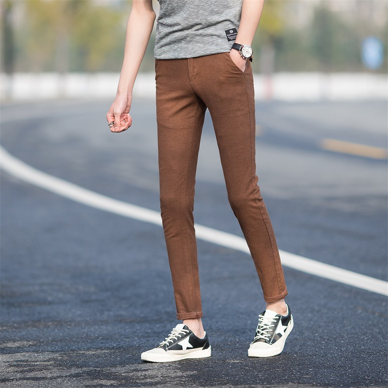 Casual Pants MAN'S Ninth Pants Summer New Products Korean-style Youth Slim Fit Cotton Solid Color Popular Pants Men'S Wear