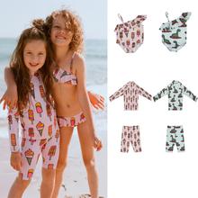 Stroje kąpielowe dla dzieci 2020 nowe letnie marki Kukukid pływać z długim rękawem jasnoróżowe stroje kąpielowe dla dzieci dla chłopców Bikini dziewczęce plaża strój kąpielowy tanie tanio Poliester Unisex Pasuje prawda na wymiar weź swój normalny rozmiar Zwierząt