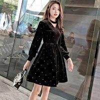 Spring Fall Women Vintage Lantern Sleeve Black Dress Empire White Polka Dot Short Dress Long Sleeve V Neck Velvet Dress