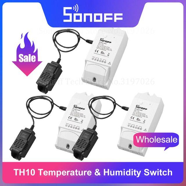 Itead Sonoff TH10 10A Wifi умный пульт дистанционного управления Переключатель датчик температуры и влажности монитор через eWeLink работает с Alexa IFTTT