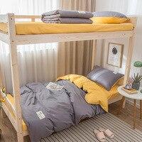 Ins однотонное хлопковое постельное белье из трех предметов и пододеяльник 1 2 м для одного общежития для студентов из чистого хлопка