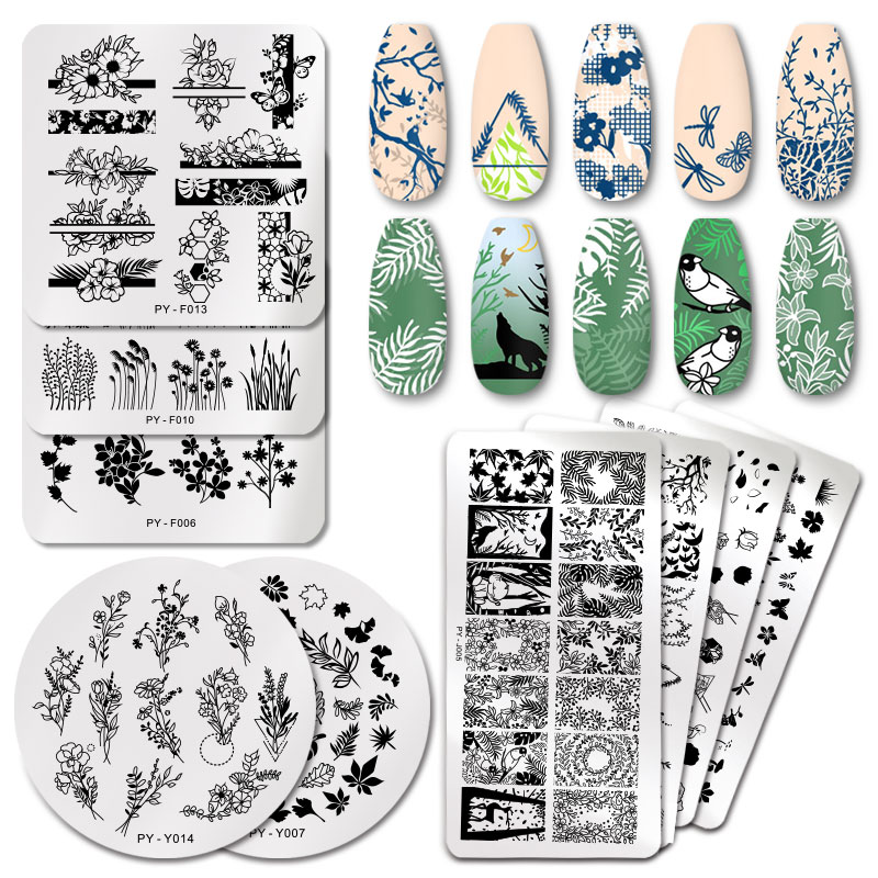 PICT YOU Flowers Series Nail Stamping Plates Natural Flower Leaves Lavender Lace Stamping Templates DIY Nail Art Stencil Tools