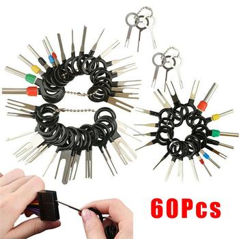 60pcs/set Automotive Plug Terminal Remove Tool Set Key Pin Car Electrical Wire Crimp Connector Extractor Kit Accessories 18pcs auto car plug circuit board wire harness terminal extraction disassembled crimp pin back needle remove tool kit