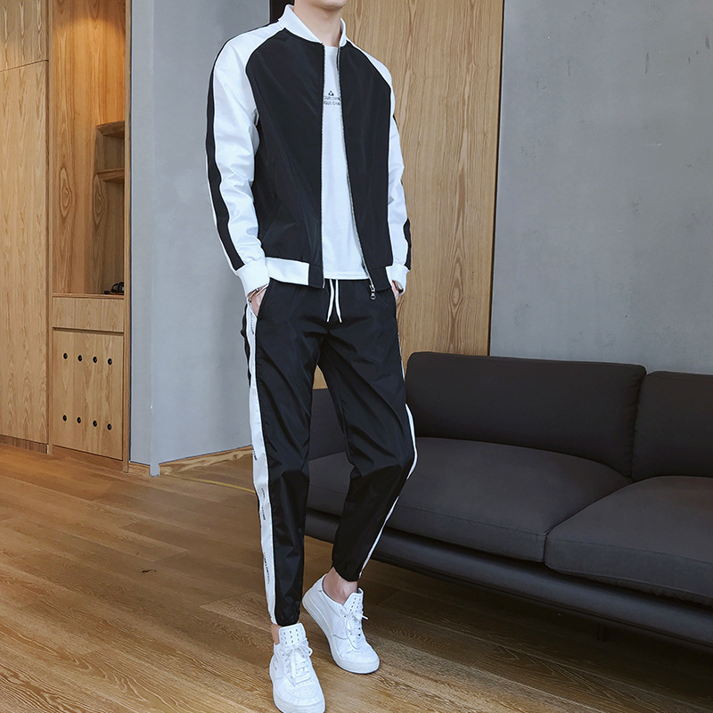 2019 New Style Men'S Wear Hong Kong Style Spring And Autumn Students Casual Sports Hoodie Suit Men Ball Collar Hoodie Two-Piece