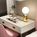 Скандинавские современные минималистичные настольные лампы для гостиной  белый стеклянный шар  Настольный светильник  железный штатив  мо...