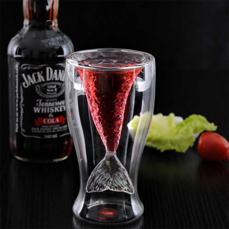 Creative Mermaid Glass Cup Double Wine Glass For Whiskey Brandy Vodka Cocktail Beer Wine Juice Shot Glass image