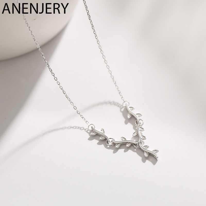 Anenjery 925 Sterling Silver Cabang Daun Kalung untuk Wanita Sederhana Rantai Mungil Kalung Collares S-N462