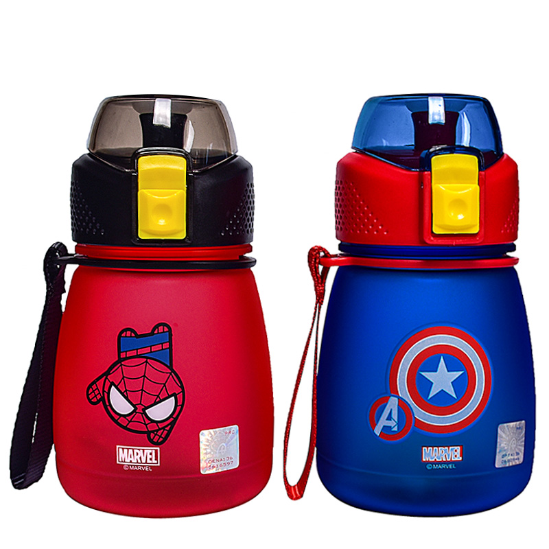 390/460ML Cartoon Spiderman Captain America Children Kids Feeding Bottles Cups With Straw Water Cups