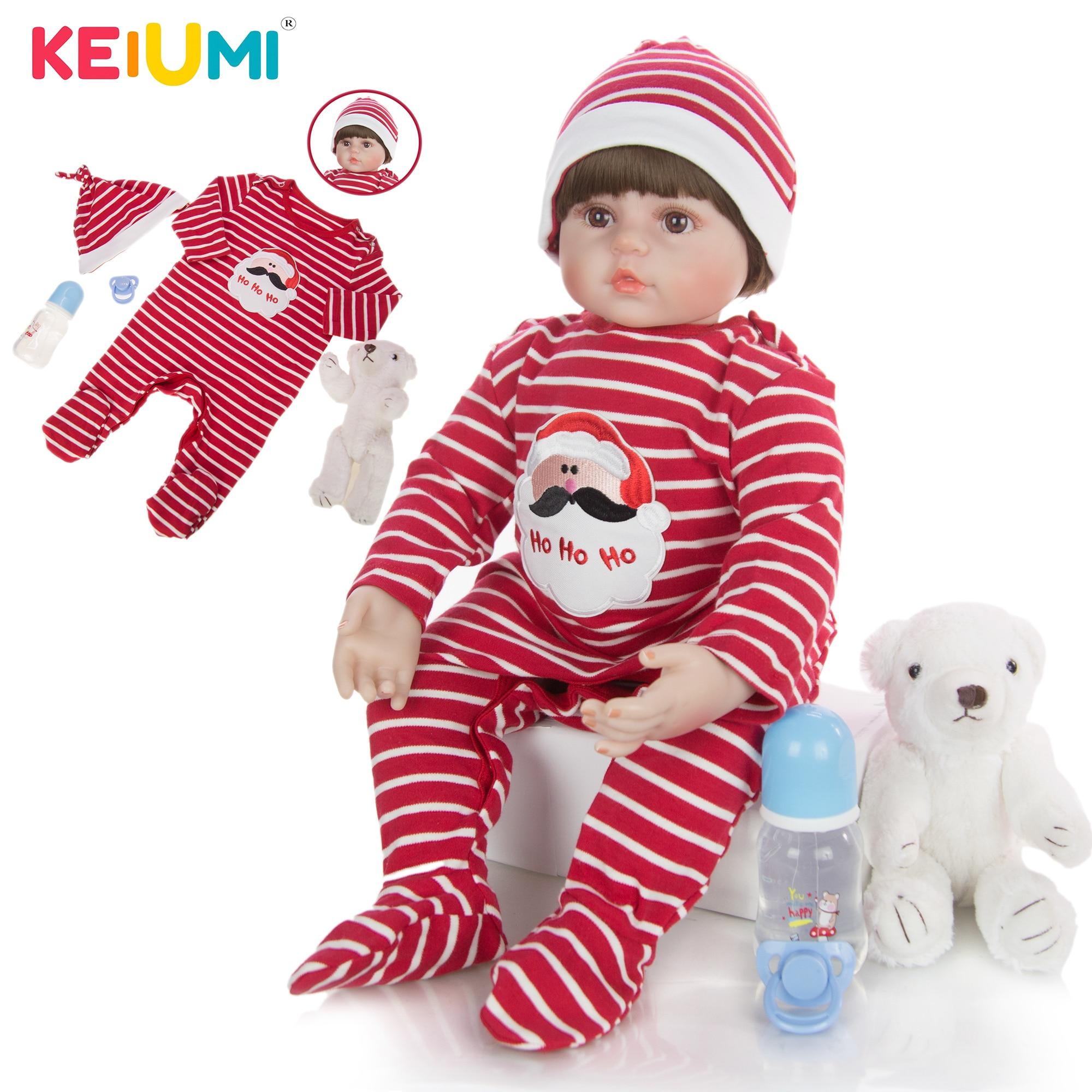 24 Inch 60 cm Realistic Reborn Baby Dolls Silicone Soft Cotton Body Fashion Boneca Reborn For Kids Christmas Gift Best Playmates(China)