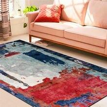 Модный абстрактный ковер с чернильным рисунком синий красный