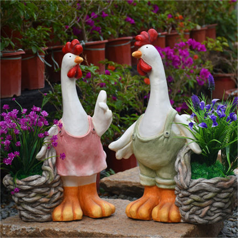 European Rooster Flowerpot Balcony Landscap Outdoor Garden Decoration Creative Craftwork Home Sculpture Decor Wedding Gift M5445