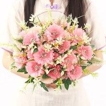7 Heads Daisy Flowers Bouquet Single Branch Sun Flower Artificial Gerbera Silk Holding For Wedding Party Decor