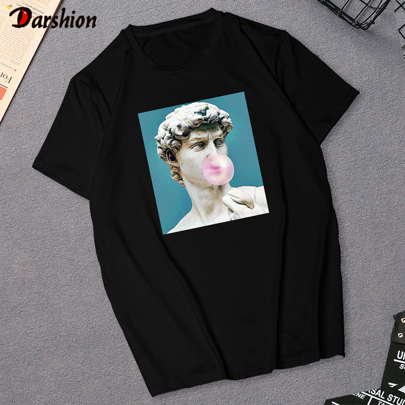 Harajuku Women's T-Shirt David Michelangelo Statue Print Tees Top Summer Rock Music Pop Star T-shirt Unisex Hip Hop Black TShirt