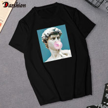 Harajuku Women's T-Shirt David Michelangelo Statue Print Tees Top Summer Rock Music Pop Star T-shirt Unisex Hip Hop Black TShirt(China)