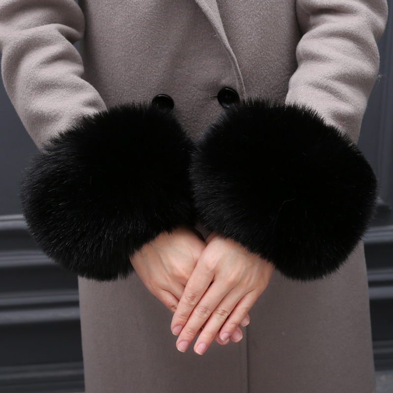 Fashion 2019 Winter Arm Warmer Raccoon Fur Cuff Lady Bracelet Wristband Fox Faux Fur Cuffs For Women