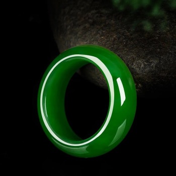 Natural Green Jade Stone Ring Chinese Hand-Carved Charm Jadeite Jewelry Fashion Accessories Amulet for Men Women Lucky Gifts 1pc fashion chinese green jade cross pendant necklace hand carved charm jadeite natural jewelry amulet for men women gifts white