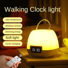 Creative remote control night light children's bedroom bedside lamp led rechargeable feeding lamp wireless clock desk lamp