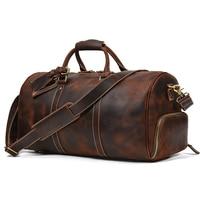 Heißer Verkauf Leder Reisetasche Vintage Leder Reise Duffle Tasche Mit Schuh Tasche Wochenende Tasche Männer Männlichen reisetasche gepäck tasche