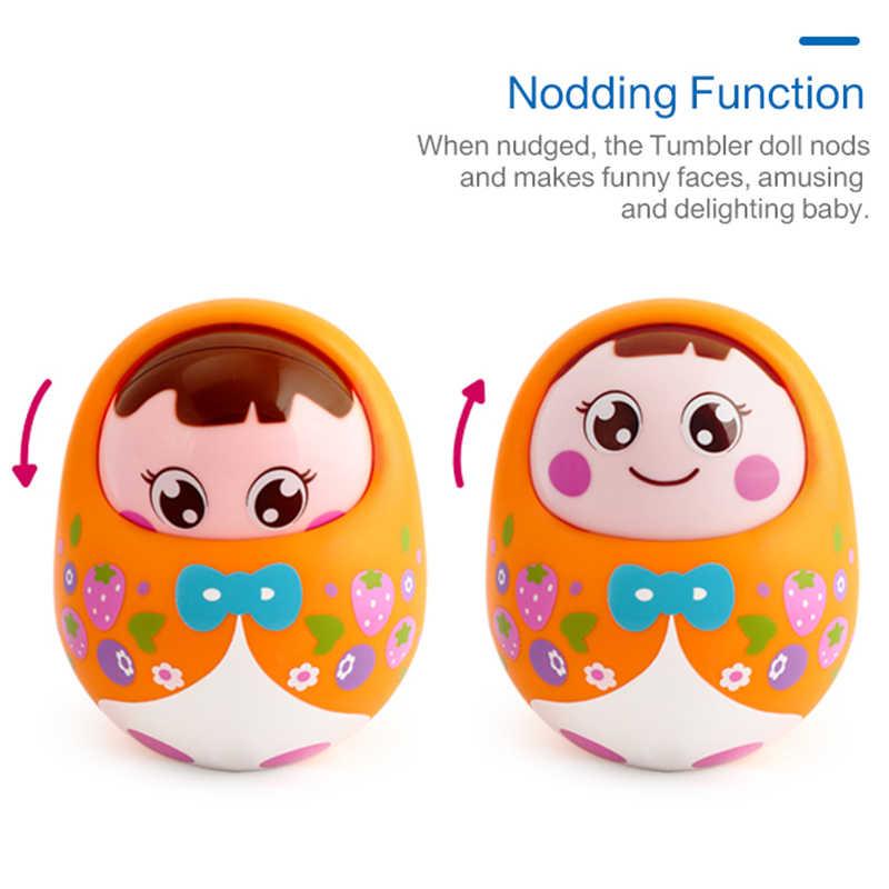 Hola 979 Bayi Mainan untuk Bayi Baru Lahir 0-12 Bulan Tumbler Boneka Bayi Mainan untuk Bayi Mengangguk Matlyoshka Bell Roly poli Mainan Musik Hadiah