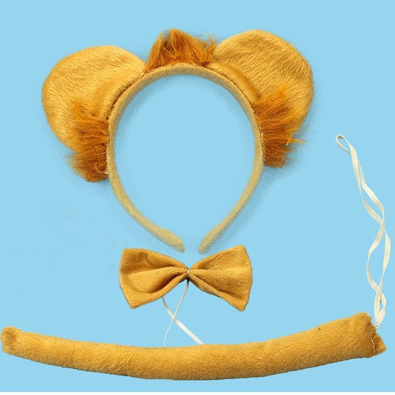 Детская повязка на голову с ушками животных для мальчиков и девочек; комплект с галстуком-бабочкой и хвостом для детей и взрослых; карнавальный костюм; вечерние аксессуары для волос - Цвет: 35