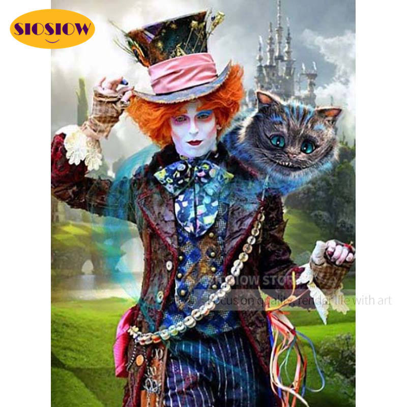 5D Full Square Diamond Painting Movie Alice in Wonderland Diamond Embroidery Mad Hatter Mosaic Cross Stitch Kit Wall Decor Home