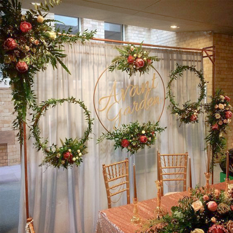 10-40cm Metal Hoops Home Door Hanging Gold Iron Metal Ring Wreath Wall Hanging Ornament Wedding Decoration Spring Party Decor