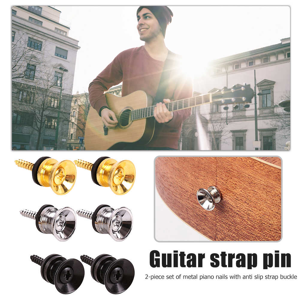2pcs Guitar Pegs for Acoustic Electric Bass Ukulele Guitar Strap Buckle Button Lock Pins Metal End Locking Parts Accessories