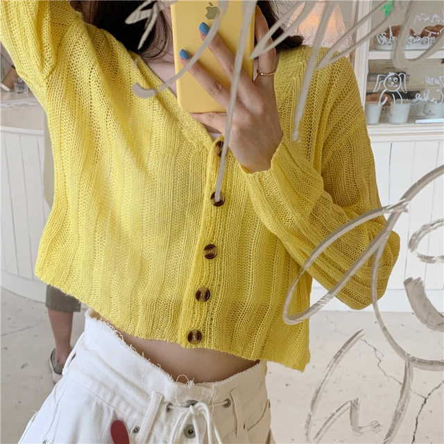 US $9.91 38% OFF|Ladies Short Cardigan V Neck Long Sleeve Cropped Cardigan Sweaters Thin Coat feminino Autumn Knitwear for Women|v neck vest|top