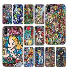 Winnie Pooh fairy tale stained Alice Mickey Mouse Silicone Phone Cases for iPhone 5 5S SE 6 6s 7 8 Plus X XS Max XR Back Cover(China)