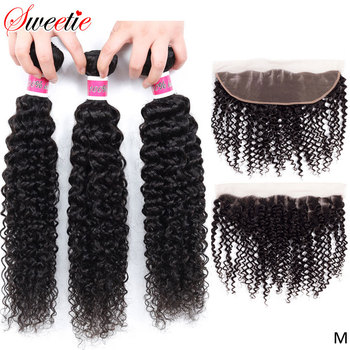 Sweetie Afro Kinky Curly Bundles With Frontal Closure 3 Bundles Indian Human Hair Weave Non-remy Lace Frontal With Bundles