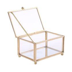 Rustikale Hochzeit Ring Box Geometrische Transparent Glas Schmuck Display Lagerung Halten G8TB