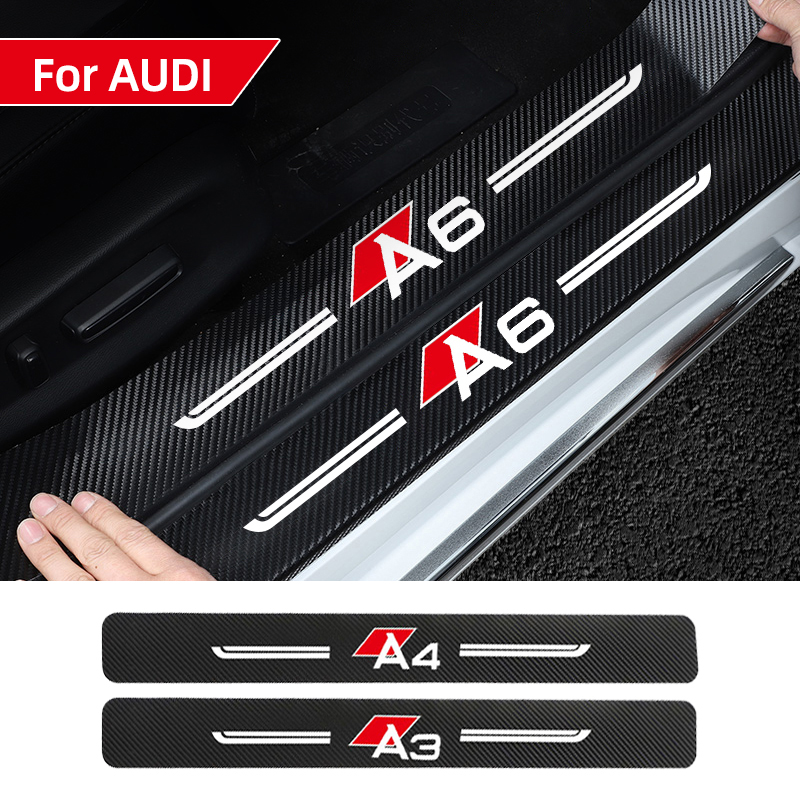 4pcs Car sticker door decoration modified protective decoration For AUDI A3 A4 A5 A6 A7 Q3 Q5 Q7 Threshold Protection accessorie