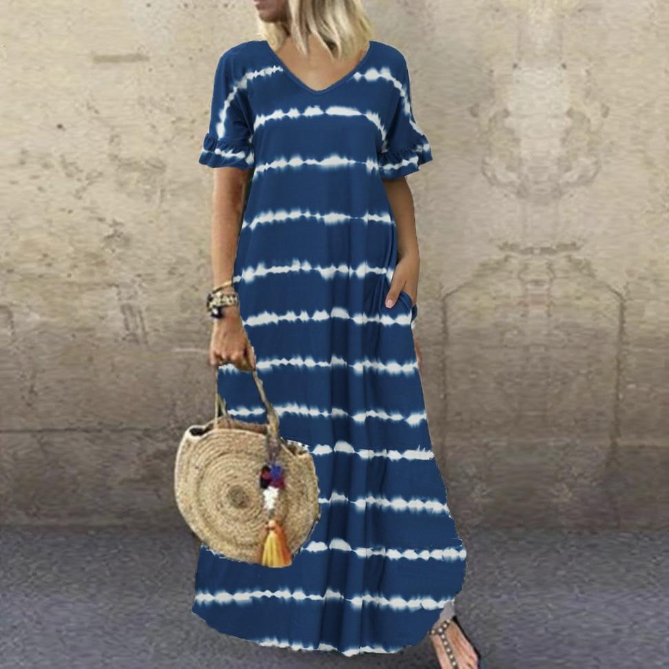 Bohemian Dress S-5XL Big Size Summer Casual Short Sleeve Stripe Printed Dress Women Loose Pockets Maxi Long Dress Lady Vestidos