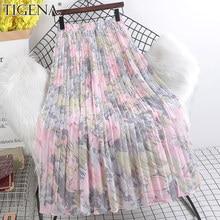 TIGENA 2021 Summer Chiffon Maxi Skirt Women Beautiful Floral Print Aesthetic A Line High Waist Pleated Long Skirt Female Lady
