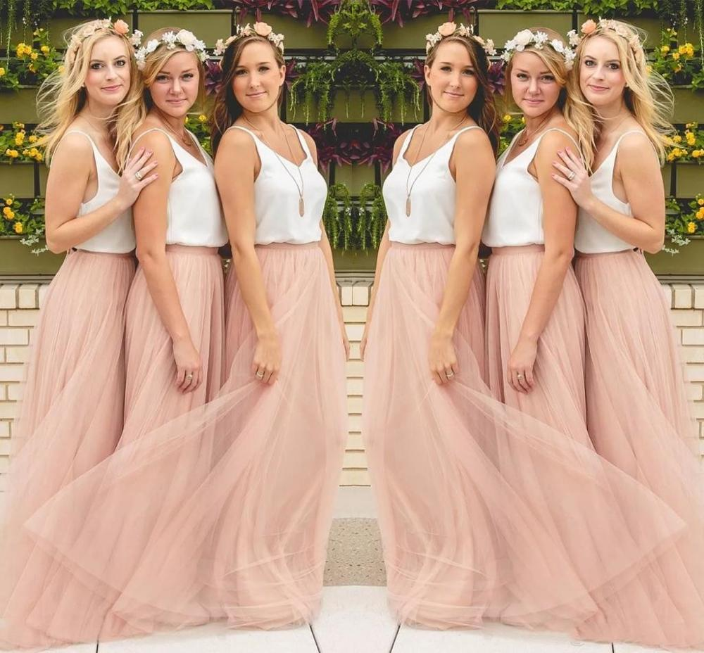 Bridesmaid Dresses Long Floor Length Two Piece Tulle Cheap Formal Porm Party Gown For Women Wedding Big Size