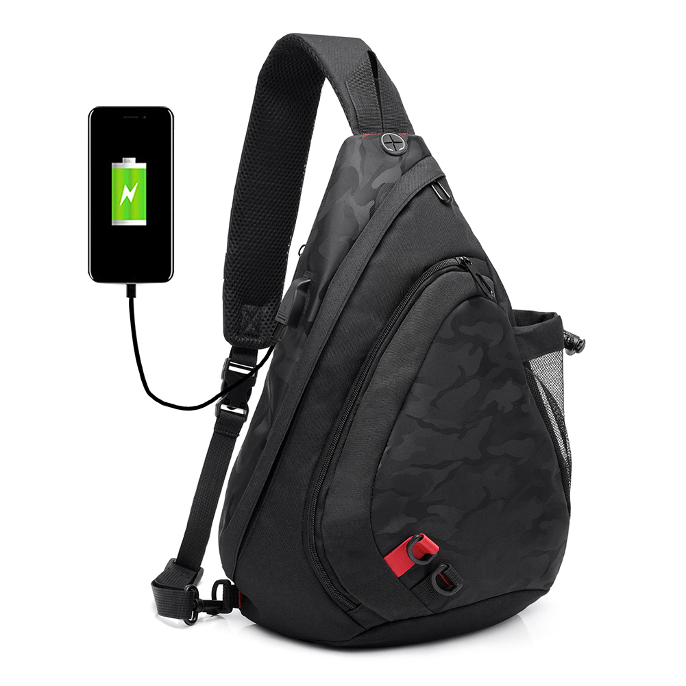 USB Charging Men Chest Bags Waterproof Nylon Single Shoulder Bag Large Capacity Casual Male Crossbody Bag Women Travel Back Pack