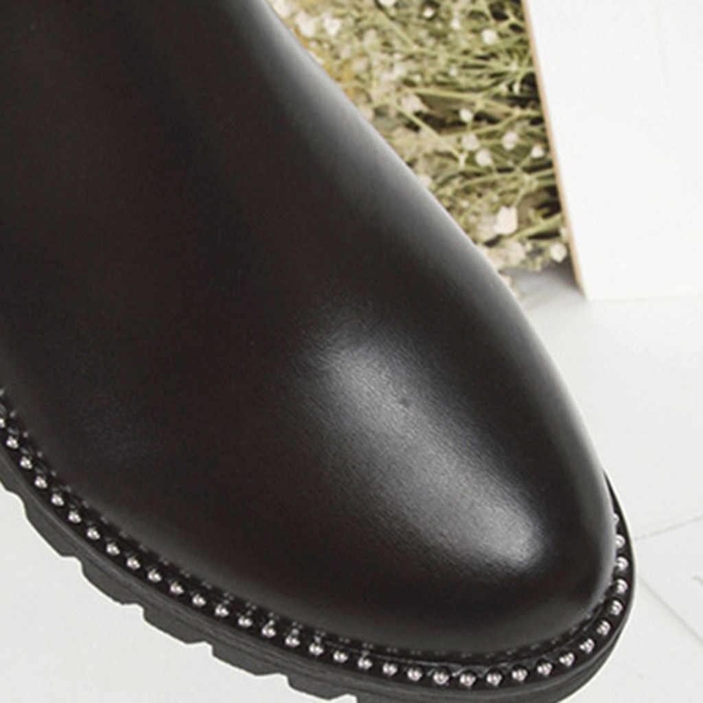 Martin botas femininas dedo do pé redondo costura couro do plutônio deslizamento no tornozelo bare botas planas salto quadrado casual botas curtas botas mujer