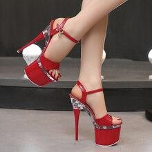 Steel Tube Dancing Shoes Women 2020 Summer High Heel Peep Toe Sandals Heel 15-18cm Thick Bottom Model Shoes Black Big Size Pumps