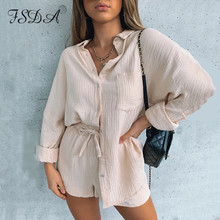 FSDA 2021 Summer Autumn Long Sleeve Top Shirt Women And Shorts Casual Women Set Black Two Pieces Set Loose Outfit Female