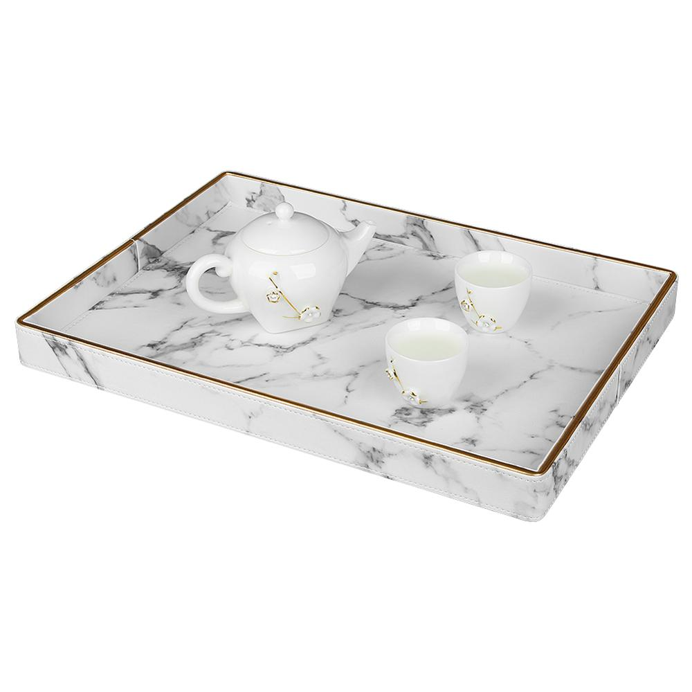 Large Gold Rim Serving Tray Marble PU Leather Tea Cup Sets Tray Kitchen Storage Box Fruit Food Cup Holder Tray Home Decoration