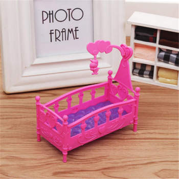Rocking Cradle Bed Doll House Toy Furniture For loles Doll Accessories Girls Toy  Baby Shower Gift Girls Toy new pink closet wardrobe forbarbie doll girls toy princess bedroom furniture