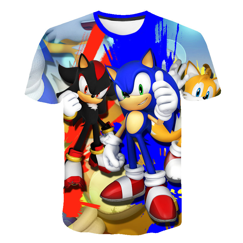 Funny 3D Boys Supersonic Sonic T-shirts Girl Mario Costume Children Clothing Summer Sonic The Hedgehog Kids Clothes Baby T Shirt