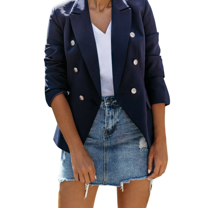 Women OL Suit Jackets Solid Slim Lapel Buttons Coats Bussiness Casual Ladies Cardigan Jackets Long Sleeve Autumn Outerwear