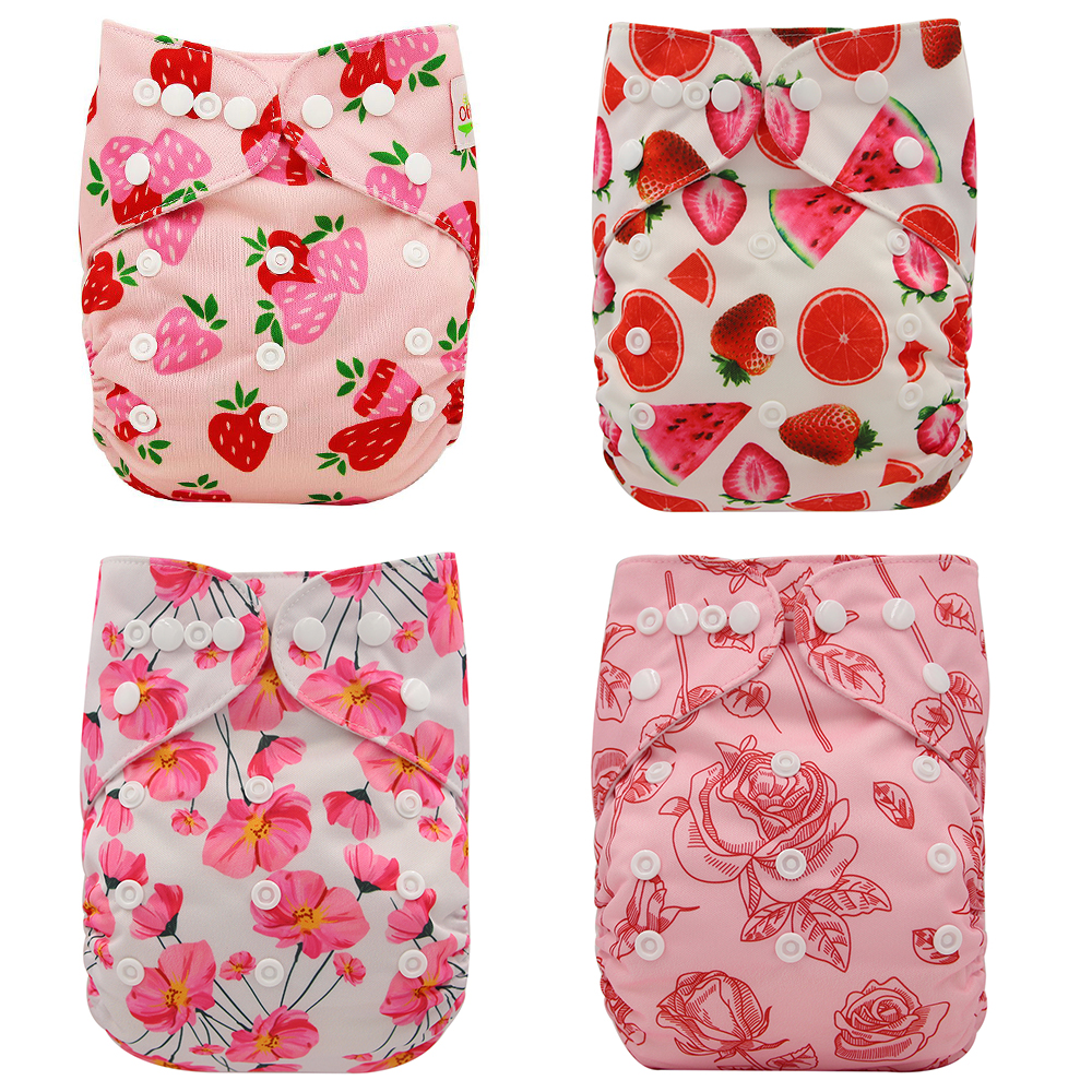 4PCS/Pack Reusable Cloth Diapers One Size Adjustable Baby Nappies Anti-Leak Newborn Infant Washable Diaper Cover With Suede